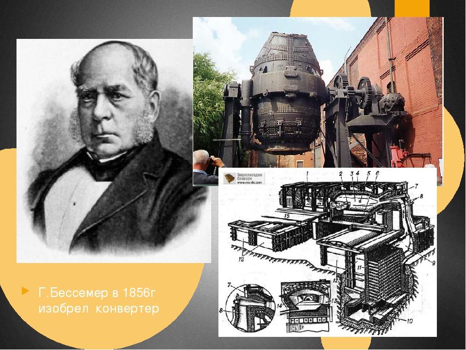 Г.Бессемер в 1856г изобрел конвертер