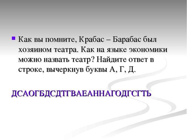 Как вы помните, Крабас – Барабас был хозяином театра. Как на языке экономики...