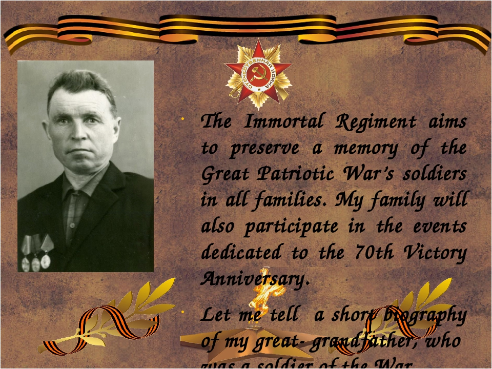 The Immortal Regiment aims to preserve a memory of the Great Patriotic War's...