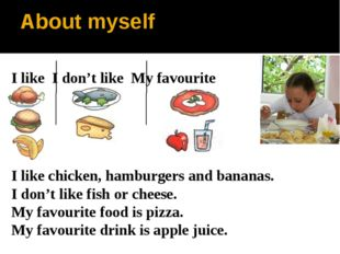 About myself I like chicken, hamburgers and bananas. I don't like fish or che