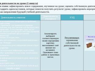 X. Рефлексия деятельности на уроке (1 минута) Цель данного этапа: зафиксирова