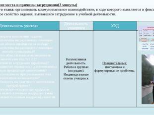IV. Выявление места и причины затруднения(3 минуты) Цель данного этапа: орган