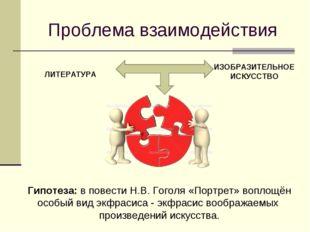 Проблема взаимодействия ЛИТЕРАТУРА ИЗОБРАЗИТЕЛЬНОЕ ИСКУССТВО Гипотеза: в пове