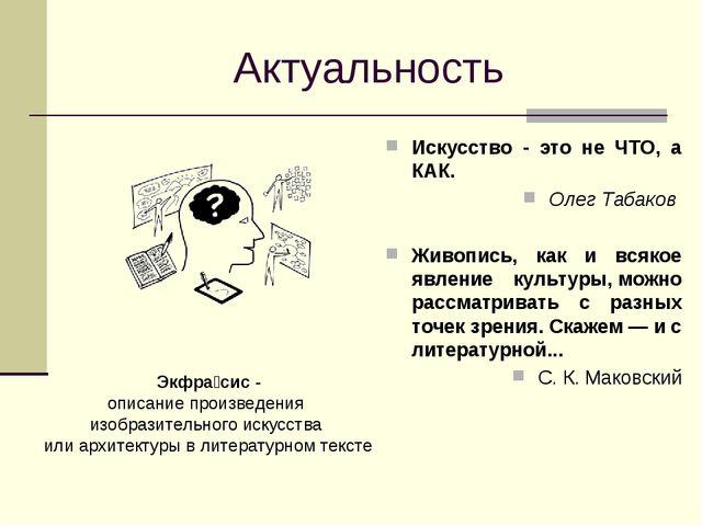 Актуальность Искусство - это не ЧТО, а КАК. Олег Табаков  Живопись, как и...