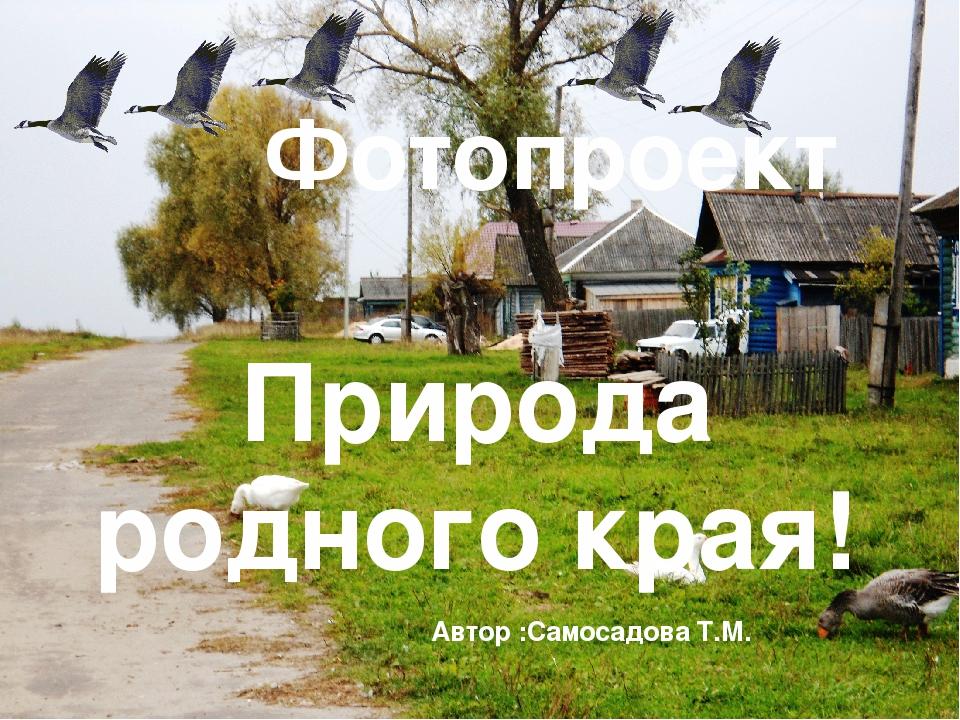 Природа родного края! Фотопроект Автор :Самосадова Т.М.
