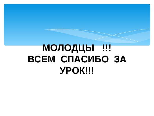 МОЛОДЦЫ !!! ВСЕМ СПАСИБО ЗА УРОК!!!