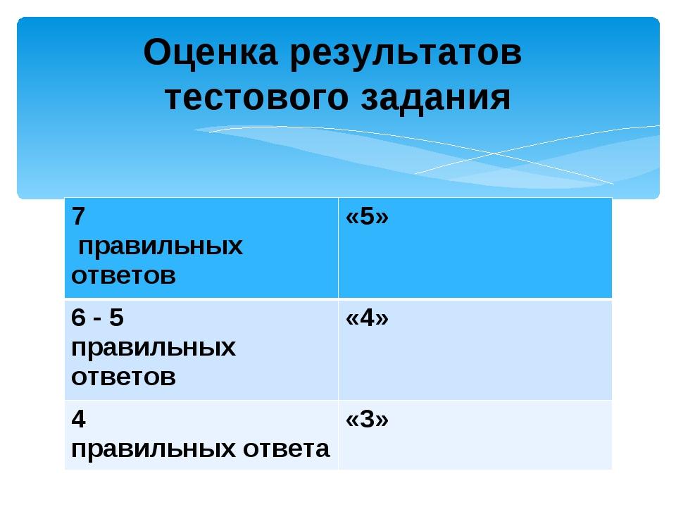 Оценка результатов тестового задания 7 правильных ответов«5» 6 - 5 правильны...
