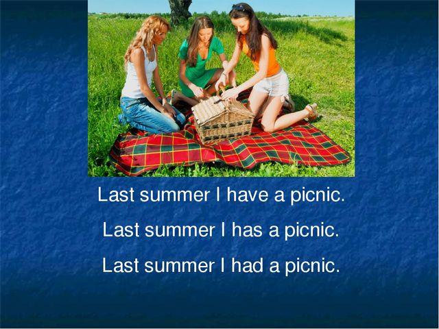 Last summer I have a picnic. Last summer I has a picnic. Last summer I had a...