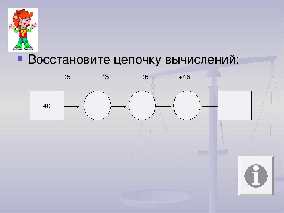 Восстановите цепочку вычислений: 40 :5 *3 :6 +46