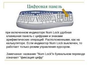 Цифровая панель при включенном индикаторе Num Lock удобная клавишная панель с