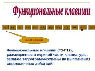F1 F2 F3 F 4 F 5 F 7 F 8 F 9 F10 F 11 F12 F 6 Вызов справки Функциональные кл