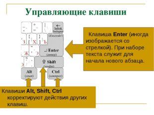 Управляющие клавиши Клавиши Alt, Shift, Ctrl корректируют действия других кла