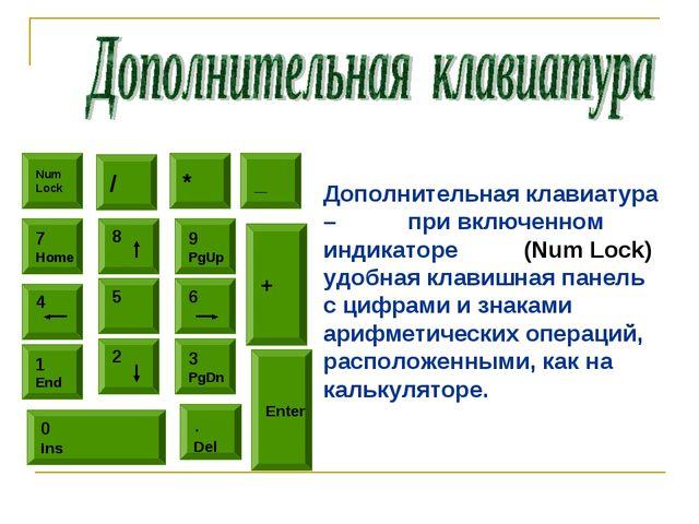 Num Lock / * 5 8 6 9 PgUp 4 7 Home 2 1 End 3 PgDn 0 Ins . Del _ + Enter Допол...
