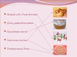 Новый год, Рождество День равноденствия Праздник пасхи Закличка весны Тетероч