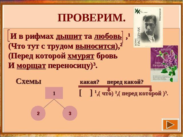 ПРОВЕРИМ. Схемы какая? перед какой? [ ] 1,( что) 2,( перед которой )3. 1 И в...