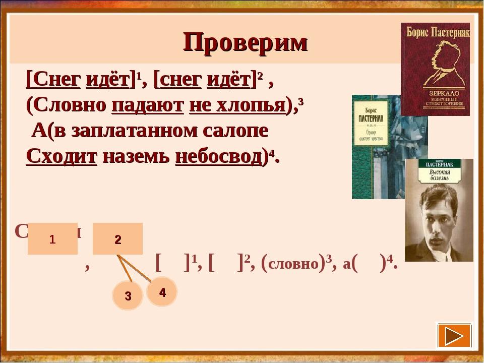 Проверим Схемы , [ ]1, [ ]2, (словно)3, а( )4. 3 4 [Снег идёт]1, [снег идёт]...