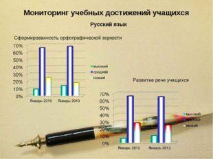 Мониторинг учебных достижений учащихся Русский язык Сформированность орфограф
