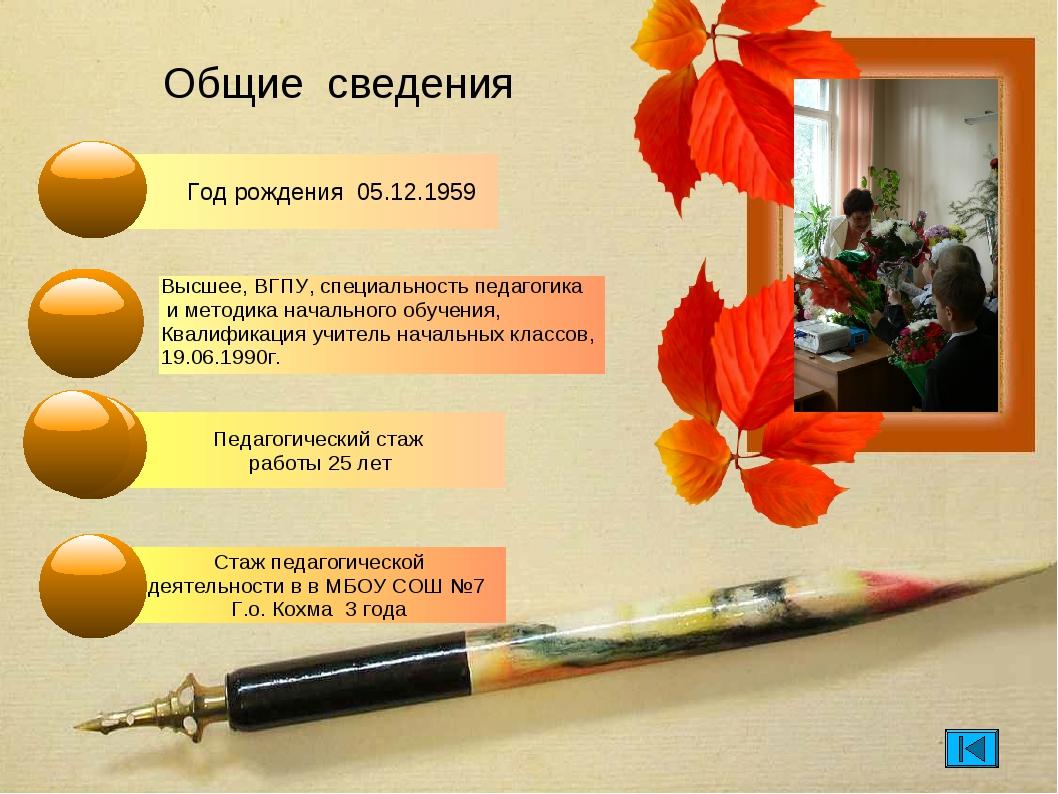 Общие сведения Год рождения 05.12.1959 Стаж педагогической деятельности в в М...