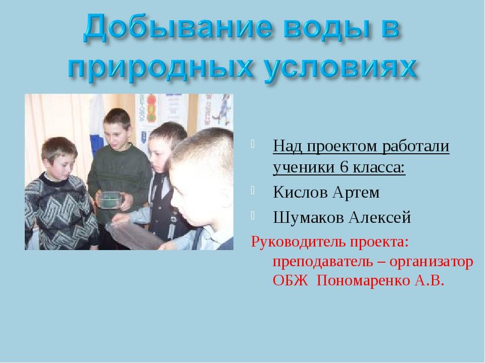 Над проектом работали ученики 6 класса: Кислов Артем Шумаков Алексей Руководи...