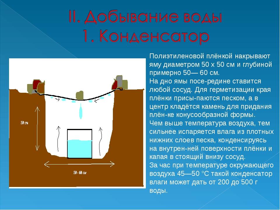 Полиэтиленовой плёнкой накрывают яму диаметром 50 х 50 см и глубиной примерно...