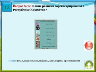 Вопрос №12: Какие религии зарегистрированы в Республике Казахстан? Ответ: исл