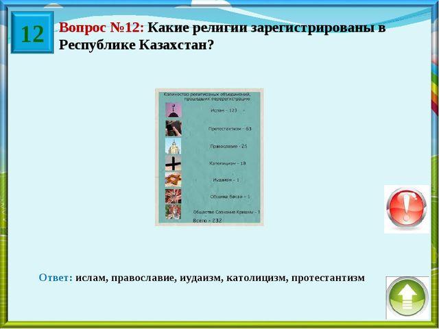 Вопрос №12: Какие религии зарегистрированы в Республике Казахстан? Ответ: исл...