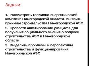 Задачи: 1.Рассмотреть топливно-энергетический комплекс Нижегородской области