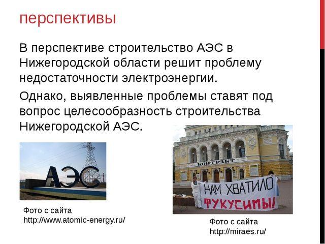 перспективы В перспективе строительство АЭС в Нижегородской области решит про...