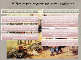 IV. Две теории создания русского государства НОРМАНСКАЯ ТЕОРИЯ АНТИНОРМАНСКАЯ