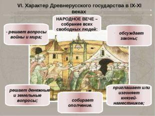 НАРОДНОЕ ВЕЧЕ – собрание всех свободных людей: - решает вопросы войны и мира;
