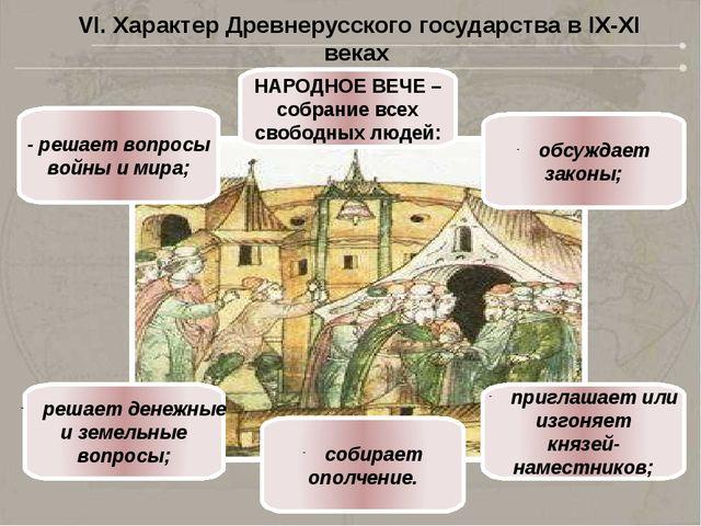 НАРОДНОЕ ВЕЧЕ – собрание всех свободных людей: - решает вопросы войны и мира;...