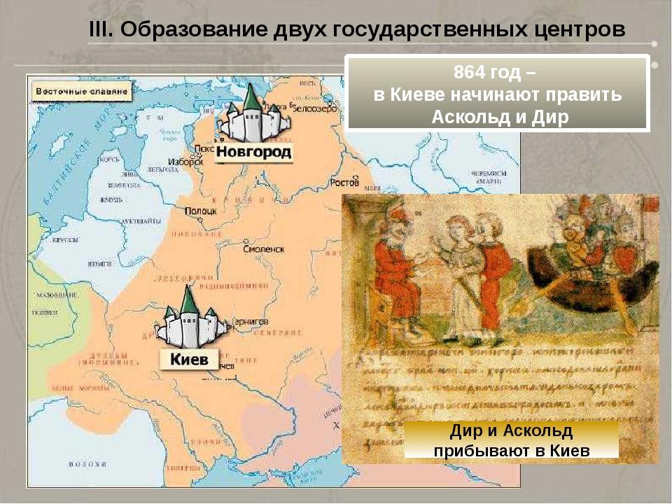 III. Образование двух государственных центров 864 год – в Киеве начинают прав...