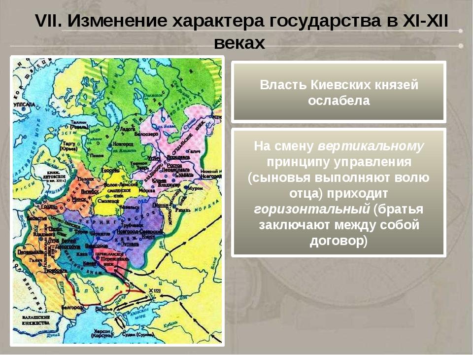 Власть Киевских князей ослабела На смену вертикальному принципу управления (с...