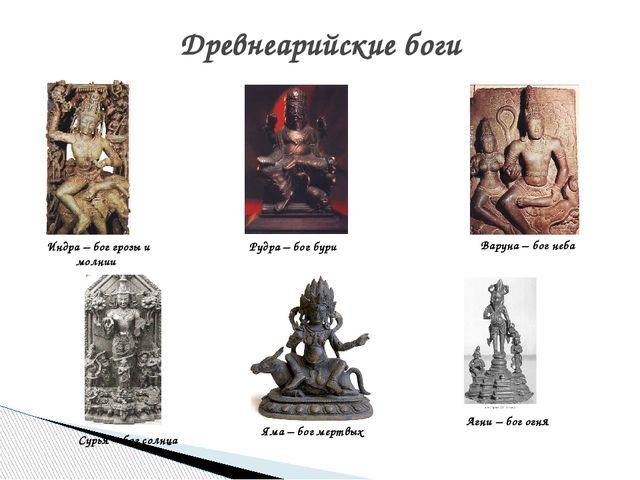 Древнеарийские боги Индра – бог грозы и молнии Агни – бог огня Яма – бог мерт...