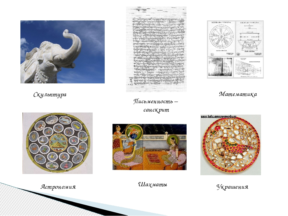 Письменность – санскрит Скульптура Математика Шахматы Астрономия Украшения