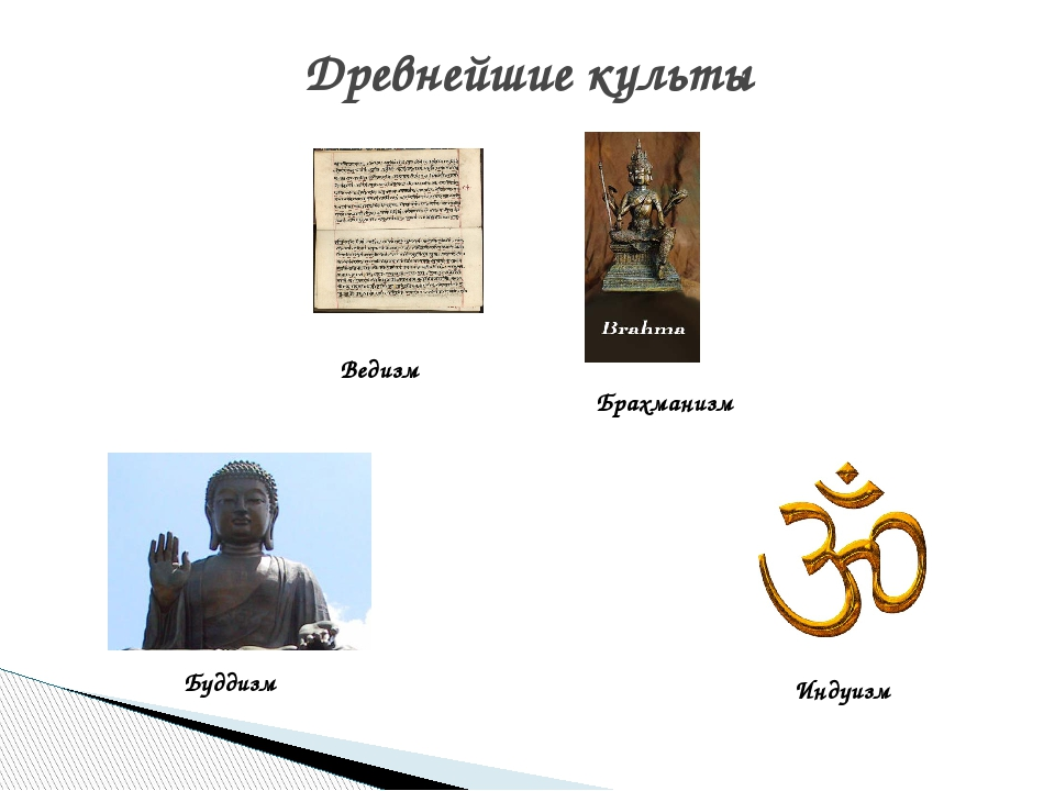 Древнейшие культы Ведизм Брахманизм Буддизм Индуизм