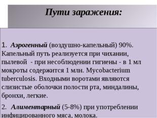 Пути заражения: 1. Аэрогенный (воздушно-капельный) 90%. Капельный путь реали