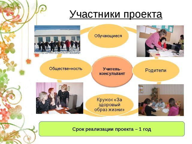 Участники проекта Срок реализации проекта – 1 год