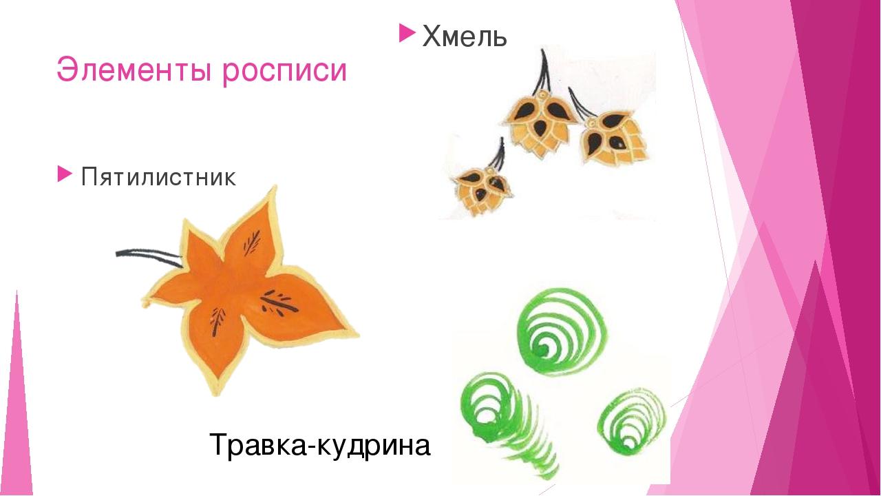 Элементы росписи Пятилистник Хмель Травка-кудрина
