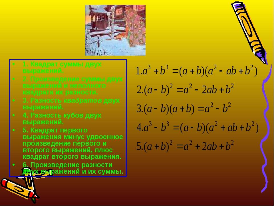 1. Квадрат суммы двух выражений. 2. Произведение суммы двух выражений и непол...
