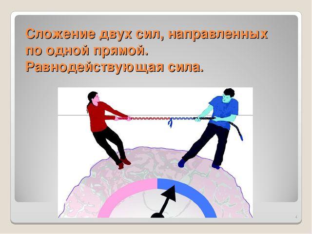 Сложение двух сил, направленных по одной прямой. Равнодействующая сила. *
