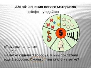 АМ объяснения нового материала «Инфо – угадайка» «Пометки на полях» +, -, ?,