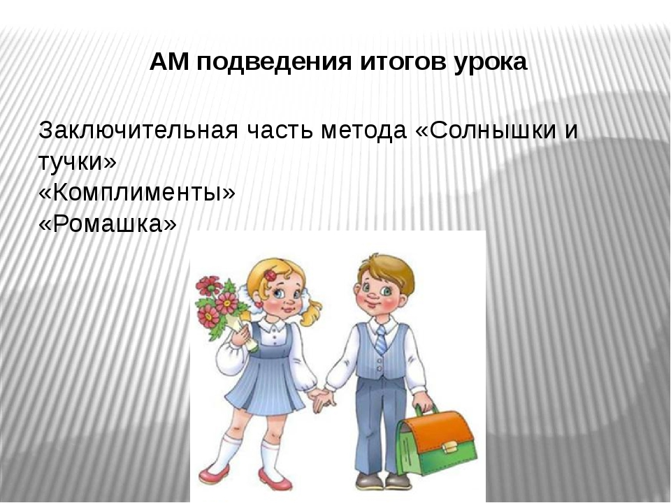 АМ подведения итогов урока Заключительная часть метода «Солнышки и тучки» «Ко...