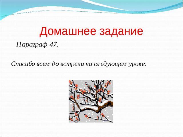 Домашнее задание Параграф 47. Спасибо всем до встречи на следующем уроке.