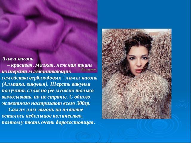 Лама-вигонь – красивая, мягкая, нежная ткань из шерсти млекопитающих семейств...
