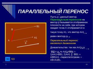 * 1 Пусть р –данный вектор. Параллельным переносом на вектор р называется ото
