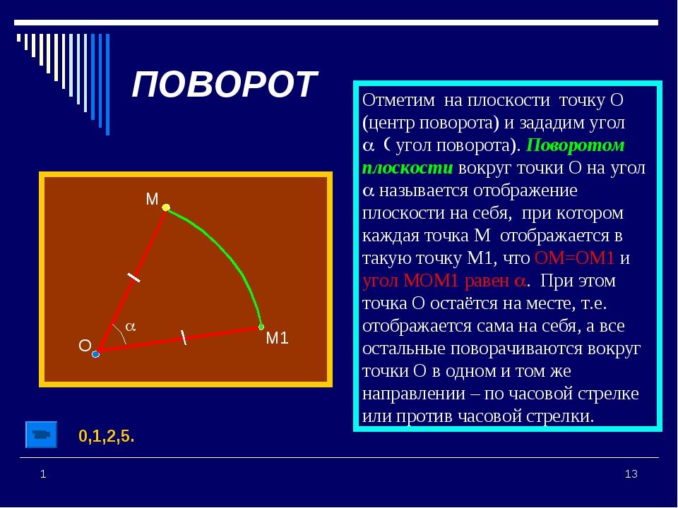 * 1 М ПОВОРОТ О М1 a Отметим на плоскости точку О (центр поворота) и зададим...