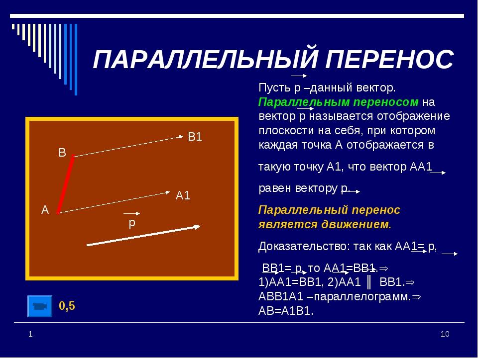 * 1 Пусть р –данный вектор. Параллельным переносом на вектор р называется ото...