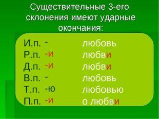 Существительные 3-его склонения имеют ударные окончания: И.п. Р.п. Д.п. В.п.