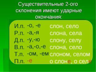 Существительные 2-ого склонения имеют ударные окончания: И.п. Р.п. Д.п. В.п.